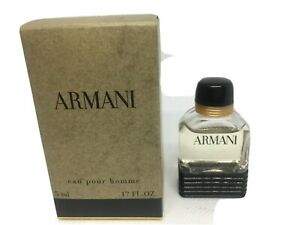 Armani Eau Pour Homme 0.17oz 5 ml EDT Mini-New & Vintage-Old Classic Black Lines