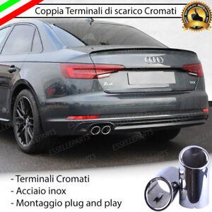 COPPIA TERMINALE SCARICO CROMATO LUCIDO ACCAIO INOX AUDI A4 B9 AVANT DOPPIO