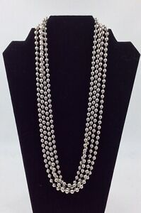 """Stainless Steel Bead Necklace by Milor, 100"""" Length, Perfect for Layering, New"""