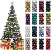 24 Pcs Glitter Christmas Baubles Ornament Ball Party House Tree Decorations New!