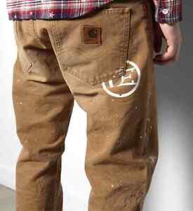 JEANS PANTALON CARHARTT DAMAGED BRONCO PANT (brown) W32  L32  VAL 350 €