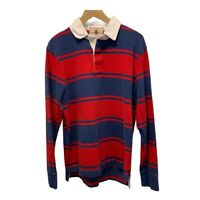 Vintage J CREW Lancaster Rugby Polo Shirt Mens size Medium Red & Blue Stripe