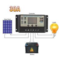 30A 48V Auto Switch PWM Solar Charge Controller Regulator Battery Panel LCD