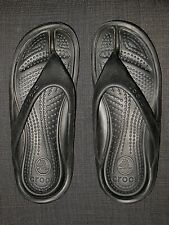 CROCS BLACK THONG FLIP FLOP SANDALS SHOES WOMEN'S SIZE 9