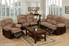 Furniture 3 piece motion loveseat, Sofa,Recliner Brown leather Living room set