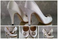 Vintage Bridal Wedding Court Shoes High Heels Woman Broach Satin Diamond