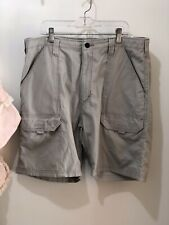 Mens Wrangler Cargo Shorts Back Elastic Sz. 34 Color Stone