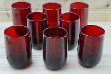 """Anchor Hocking Roly Poly Ruby Red (8) Flat Juice Glasses, 3 3/8"""""""