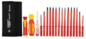 Draper 18 Piece VDE Insulated Interchangeable Blade Screwdriver Set in Tool Roll