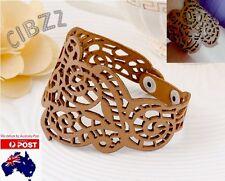 Ladies Cuff Bracelet Retro Faux Leather Wristband Braid Charm Vintage BROWN