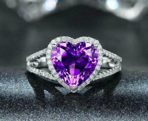 2ct Heart Cut Purple Amethyst Engagement Ring 14K White Gold Over Split Shank