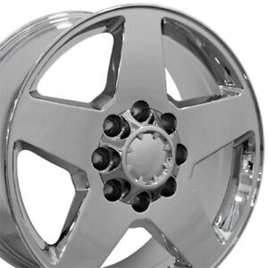 "20"" Rim Fits 8Lug Chevy Sierra Silverado HD Wheel 8-165 CV91A Chrome 5503 20x8.5"