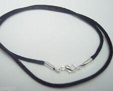 "5 Necklace Cords Black satin 16"",18"",20"",22"",24"" Silver pl. Lobster ($3.99 each)"