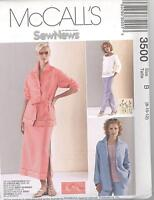 McCall's 3500 Misses' Shirt-Jacket, Top, Pull-On Pants And Skirt Sewing Pattern