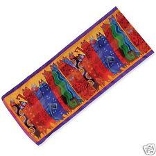 Laurel Burch 100% Silk Oblong Scarf Santa Fe Feline Cats Bright Purple Org New