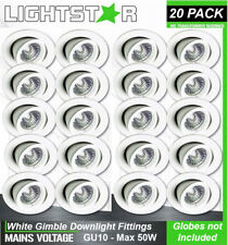 20 x White Gimbal Downlight Fittings 240V GU10 Gimble Adjustable Tilt Max 50W