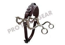 Dragon Hackamore Bitless Horse Bit English Western Adjustable Leather (Brown)