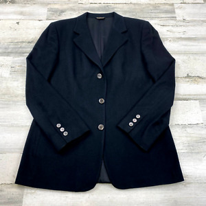 The Cashmere Collection Single-Breasted Notched Lapel Black Blazer Womens Sz 12