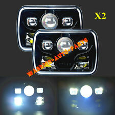 """7x6"""" LED Built In CREE Bulb Sealed Beam Headlamp Assembly High Low Beam Black x2"""