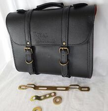ROYAL ENFIELD vintage cuir noir sacoche + Kit d'installation valise