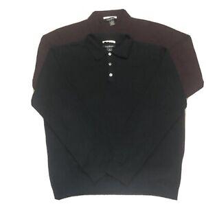Lot Of 2 Men's GLEN ROYAL 100% Fine Cashmere  Sweater Size Medium Collar Button