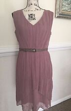 MAX AND CLEO Woven Cocktail Dress Mauve Rose Sleeveless Belt Lined Sz 6 NWT