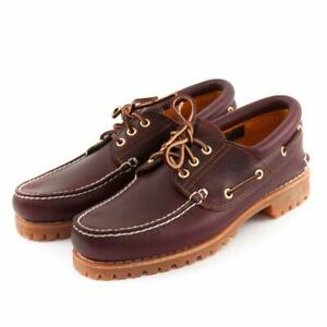Timberland Men's 50009 Heritage 3-Eyelet Lug Burgundy Deck Shoe (Hand Sewn)