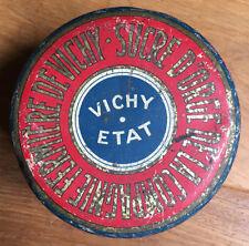 Ancienne Boite Ronde Tôle Lithographiée Sucre d'Orge Vichy - Vichy Etat