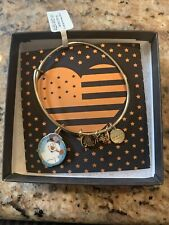 Alex And Ani FROSTY THE SNOWMAN Shiny Gold Charm Bangle New W/Tag Card & Box