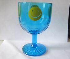 RETRO  BLUE SMILEY FACE GLASS PEDESTAL VINTAGE 1970S GOBLET