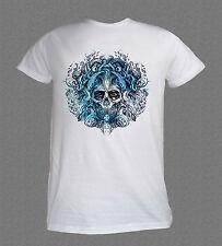 Death Metal Rock Motorbike Octopus Skull cool white T-shirt