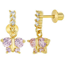 18k Gold Plated Clear Pink CZ Butterfly Screw Back Dangle Earrings Girls Child