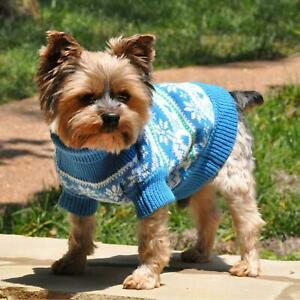 Doggie Design Combed Cotton Snowflake and Hearts Dog Sweater - Blue