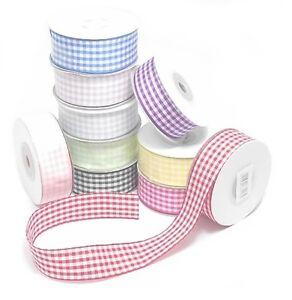 10 metre reel - Full Roll Gingham ribbon Grosgrain 10mm or 15mm various colours
