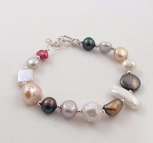 Fine Multi-Shape Colour Freshwater Pearl & Sterling Silver Charm Bracelet