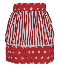 Ladies Red Star Pinafore With Stripe Apron 1950's Style Fancy Dress One Size