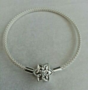 Genuine PANDORA Shine Bright Ltd Edition Mesh Bangle Charm Bracelet S925 - 17cm