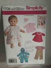 """Doll Clothes Simplicity Pattern 1708 For American Girl and other 15"""" Dolls New"""