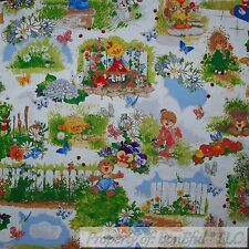 BonEful FABRIC FQ Cotton Quilt Suzy Zoo Book Rainbow Flower Duck Girl Boy Toile