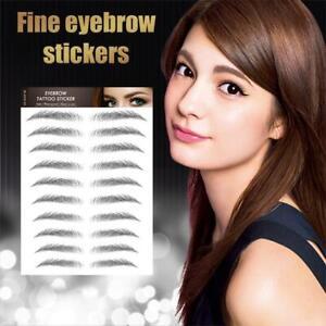 3D Eyebrow Tattoo Sticker False Stick-On Eyebrows Makeup Brown * 10 Pair Hot