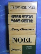 New for Sale - Wood Stamps  ( 5 pcs )  Happy Holidays