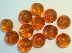 12 handmade 12mm light topaz round lamp work art glass copper foil beads GBS102