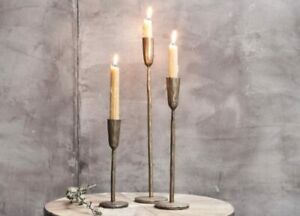 Mbata Single Candlesticks, 3 sizes, Antique Brass, Antique Gold, Nkuku, Rustic