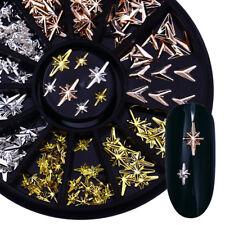 Rose Gold Metal Rivet 3D Nail Art Rhinestones Studs V-shaped Arrow Starlight DIY