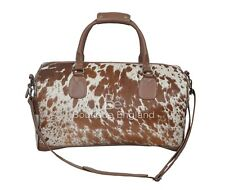 Men's Large Vache Fourrure Marron Clair Véritable Luxe Cow Hide Leather Weekend Holdall Sac