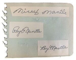 Vtg 1950s Era MICKEY MANTLE Autograph SIGNED Autograph Book PAGE + Brothers