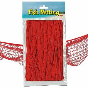 Tropical Party Red Fish Netting Decoration