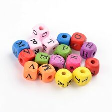 1000PCS Wood Beads Lead Free Dyed Cube With Alphabet Mixed Color 10mmx10mmx10mm