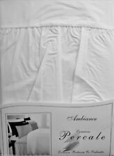 WHITE SUPERKING SIZE FITTED VALANCE SHEET IN EASYCARE  POLY COTTON PERCALE