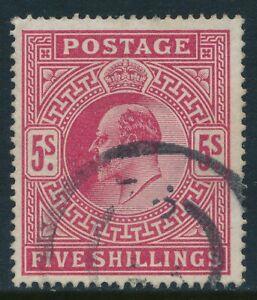 1902-1910 GB 5/- BRIGHT CARMINE LIGHTLY USED SG263
